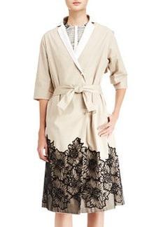 Lela Rose Belted Lace-Trim Trenchcoat