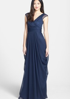 Lela Rose Bridesmaid Drape Crinkled Chiffon Gown