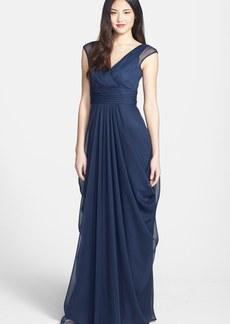 Lela Rose Bridesmaid Drape Crinkled Chiffon Gown