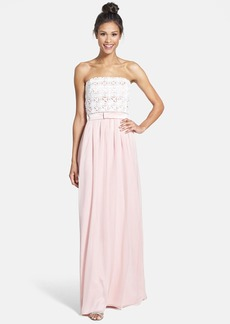 Lela Rose Bridesmaid Lace & Crinkled Chiffon Gown