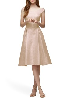 Lela Rose Bridesmaid Portrait Neck Metallic Fit & Flare Dress