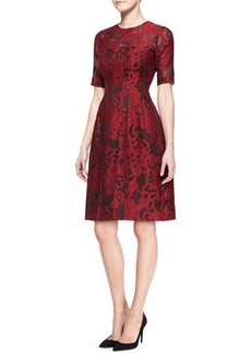 Lela Rose Brocade Lace Elbow-Sleeve Dress