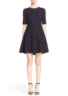 Lela Rose Broderie Anglaise Lace Inset Knit Dress