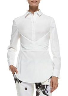 Lela Rose Button-Down Shirt W/ Crisscross Drape  Button-Down Shirt W/ Crisscross Drape