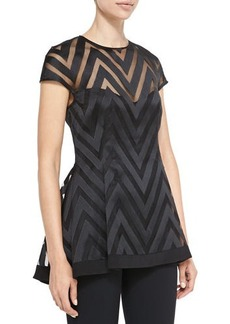 Lela Rose Cap-Sleeve Sheer Zigzag Blouse  Cap-Sleeve Sheer Zigzag Blouse