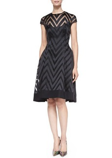 Lela Rose Cap-Sleeve Sheer Zigzag Dress