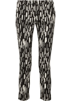 Lela Rose Caroline cropped patterned stretch cotton-blend pants