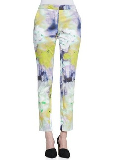 Lela Rose Caroline Watercolor-Print Slim Pants