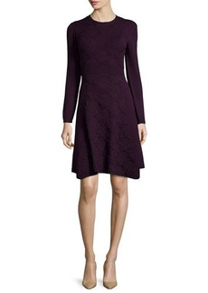 Lela Rose Cashmere-Blend Textured Lace-Knit Long-Sleeve Dress