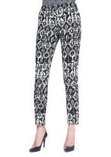 Lela Rose Catherine Geometric-Print Pants, Black/Ivory