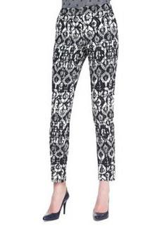 Lela Rose Catherine Geometric-Print Pants, Black/Ivory