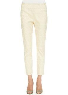 Lela Rose Catherine Jacquard Pants, Gold