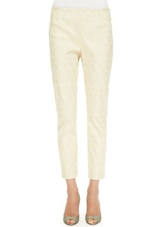 Lela Rose Catherine Jacquard Pants, Gold