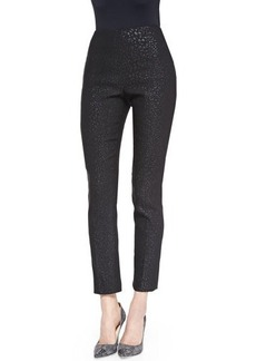 Lela Rose Catherine Reptile-Jacquard Pants, Black