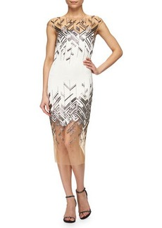 Lela Rose Chevron-Beaded Tulle-Inset Sheath Dress