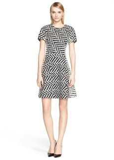 Lela Rose Chevron Jacquard Fit & Flare Dress
