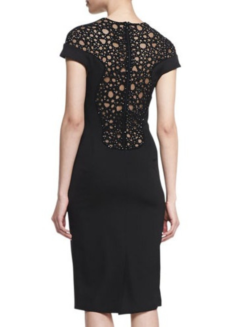 Lela Rose Circle-Embroidery Low-Back Dress