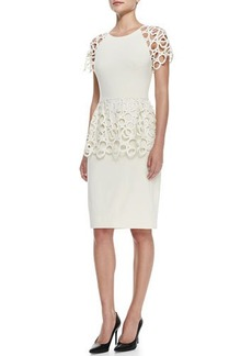 Lela Rose Circle-Lace Peplum Dress, Ivory