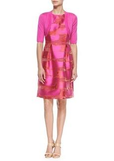 Lela Rose Classic Half-Sleeve Shrug, Pink
