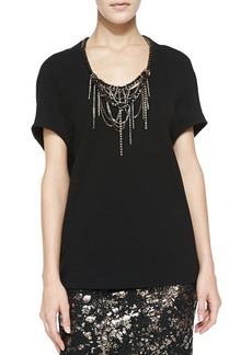 Lela Rose Cocoon Blouse with Embroidered Neckline  Cocoon Blouse with Embroidered Neckline