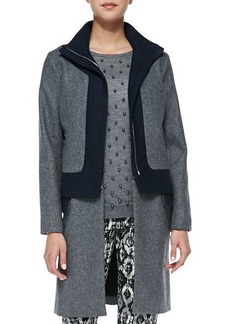 Lela Rose Colorblock Felt Coat with Zip-Off Hem, Charcoal/Navy