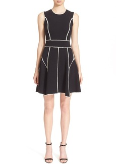 Lela Rose Contrast Trim Sleeveless Knit Fit & Flare Dress