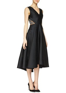 Lela Rose Crystal-Embroidered V-Neck Dress  Crystal-Embroidered V-Neck Dress