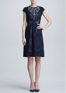 Lela Rose Crystal-Neck Fil Coupe Dress