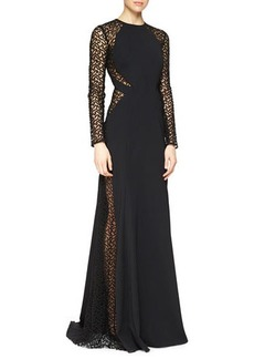 Lela Rose Dot-Embroidered Tulle-Inset Gown  Dot-Embroidered Tulle-Inset Gown