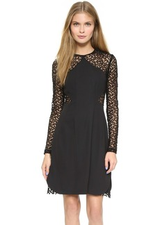 Lela Rose Dot Sheer Panel Dress