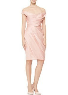 Lela Rose Draped Off-Shoulder Dress