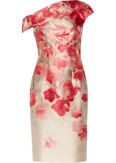 Lela Rose Draped printed wool-blend dress