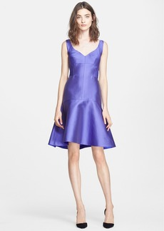Lela Rose Drop Waist Embossed Satin Dress