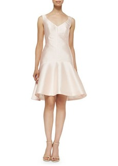 Lela Rose Drop-Waist Fit-and-Flare Faille Dress
