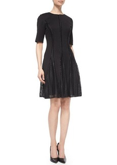 Lela Rose Elbow-Sleeve Chevron-Lace Insert Dress