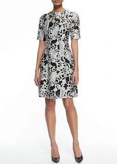 Lela Rose Elbow-Sleeve Jacquard Dress
