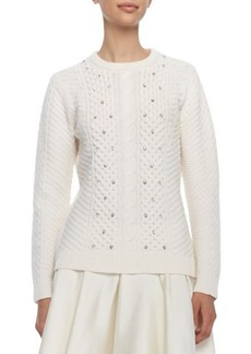 Lela Rose Embellished Cable Knit Sweater