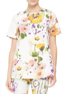 Lela Rose Embellished-Neck Floral Tunic
