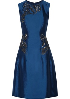 Lela Rose Embellished wool and silk-blend dress