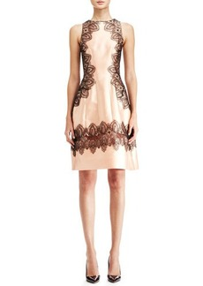 Lela Rose Embroidered A-Line Halter Dress, Blush/Black