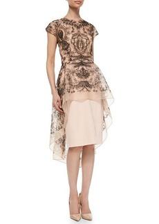 Lela Rose Embroidered Lace Peplum Dress