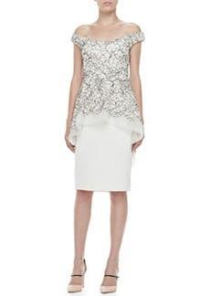 Lela Rose Embroidered Off-Shoulder Tiered Dress