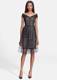Lela Rose Embroidered Sheath Dress with Stripe Tulle Overlay
