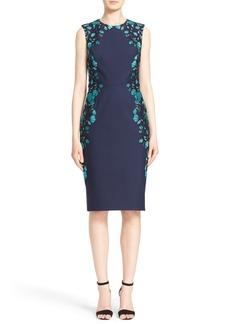 Lela Rose Embroidered Tulle Sheath Dress