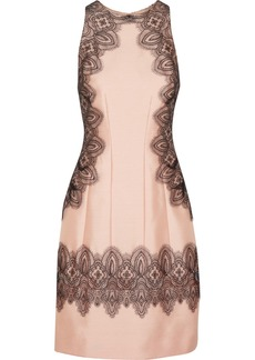 Lela Rose Embroidered wool and silk-blend dress