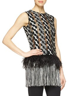 Lela Rose Feather & Fringe Trimmed Cable-Paneled Top  Feather & Fringe Trimmed Cable-Paneled Top