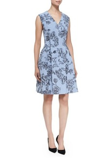 Lela Rose Floral Dress with Hidden Zip Front