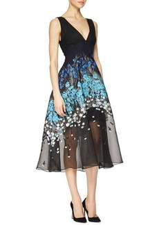 Lela Rose Floral-Embroidered Fit-And-Flare Combo Dress  Floral-Embroidered Fit-And-Flare Combo Dress