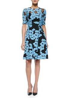 Lela Rose Floral-Embroidered Fit-and-Flare Dress, Black/Blue