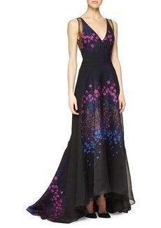 Lela Rose Floral-Embroidered Sheer-Back Full Gown  Floral-Embroidered Sheer-Back Full Gown